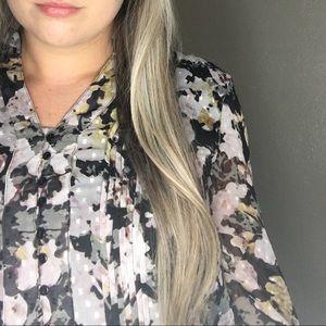 CHRISTOPHER & BANKS • Floral Long Sleeve Blouse